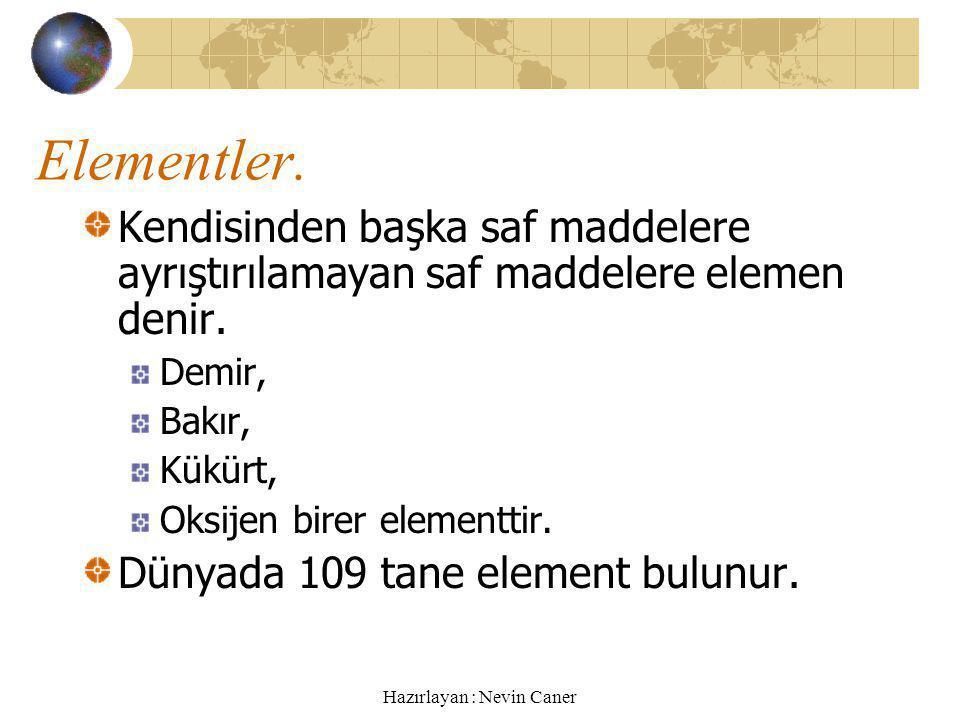Hazırlayan : Nevin Caner Elementler.