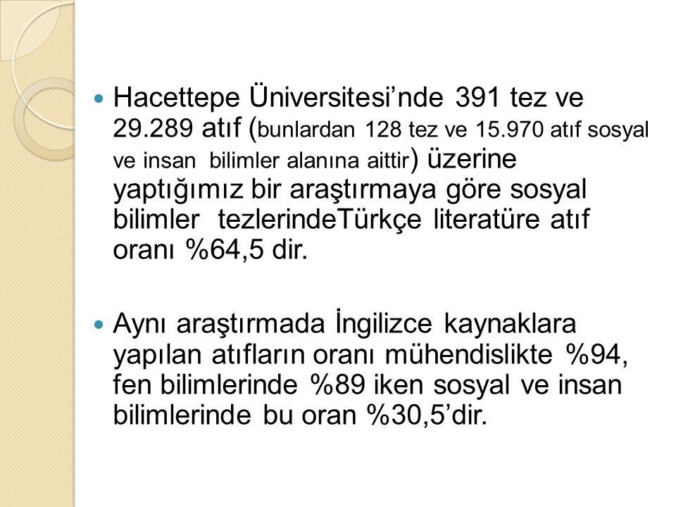 Hacettepe Üniversitesi'nde 391 tez ve 29.289 atıf ( bunlardan 128 tez ve 15.970 atıf sosyal ve insan bilimler alanına aittir ) üzerine yaptığımız bir araştırmaya göre sosyal bilimler tezlerindeTürkçe literatüre atıf oranı %64,5 dir.