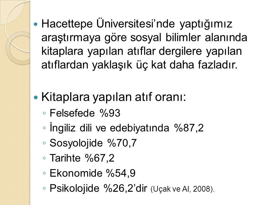 Hacettepe Üniversitesi'nde yaptığımız araştırmaya göre sosyal bilimler alanında kitaplara yapılan atıflar dergilere yapılan atıflardan yaklaşık üç kat daha fazladır.