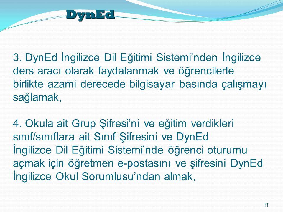 DynEd 11 3. DynEd İngilizce Dil Eğitimi Sistemi'nden İngilizce ders aracı olarak faydalanmak ve öğrencilerle birlikte azami derecede bilgisayar basınd