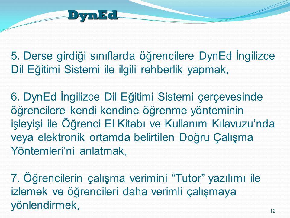 DynEd 12 5. Derse girdiği sınıflarda öğrencilere DynEd İngilizce Dil Eğitimi Sistemi ile ilgili rehberlik yapmak, 6. DynEd İngilizce Dil Eğitimi Siste