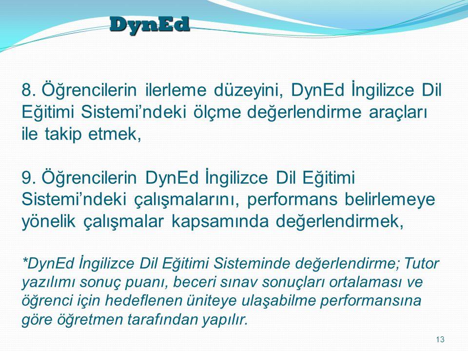 DynEd 13 8. Öğrencilerin ilerleme düzeyini, DynEd İngilizce Dil Eğitimi Sistemi'ndeki ölçme değerlendirme araçları ile takip etmek, 9. Öğrencilerin Dy