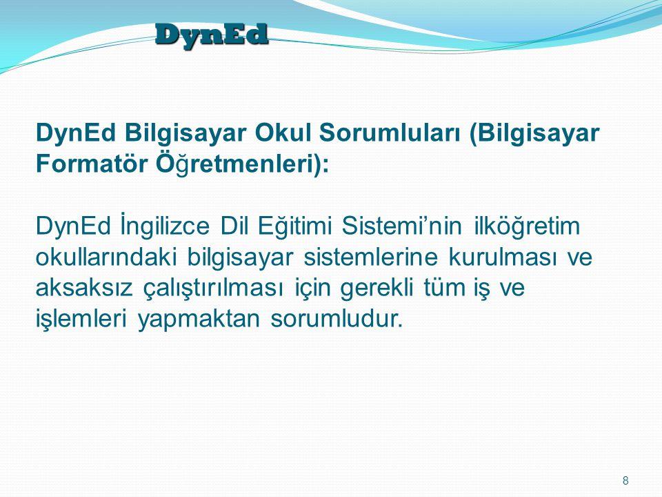 DynEd 8 DynEd Bilgisayar Okul Sorumluları (Bilgisayar Formatör Öğretmenleri): DynEd İngilizce Dil Eğitimi Sistemi'nin ilköğretim okullarındaki bilgisa