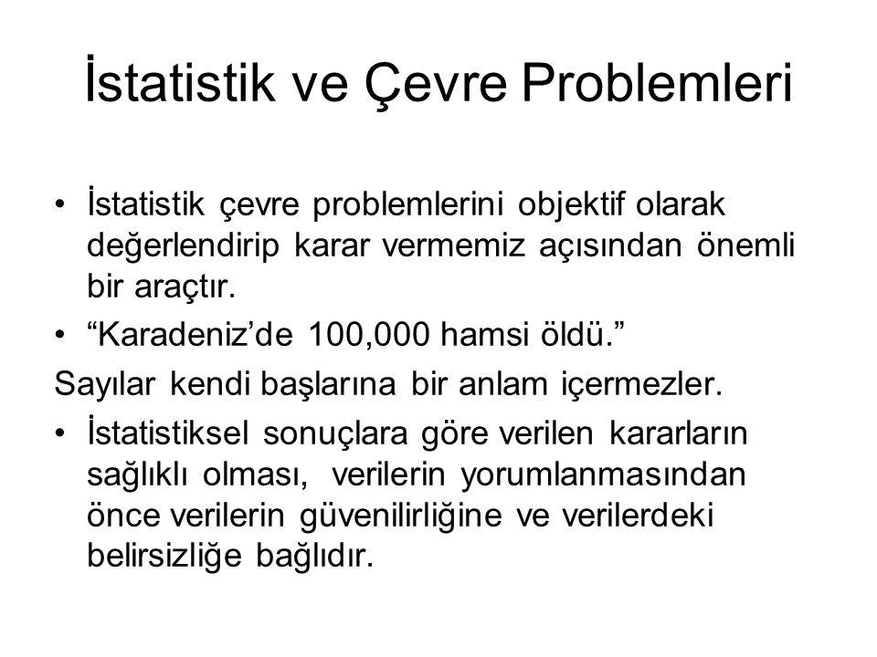 İstatistik ve Çevre Problemleri İstatistik çevre problemlerini objektif olarak değerlendirip karar vermemiz açısından önemli bir araçtır.