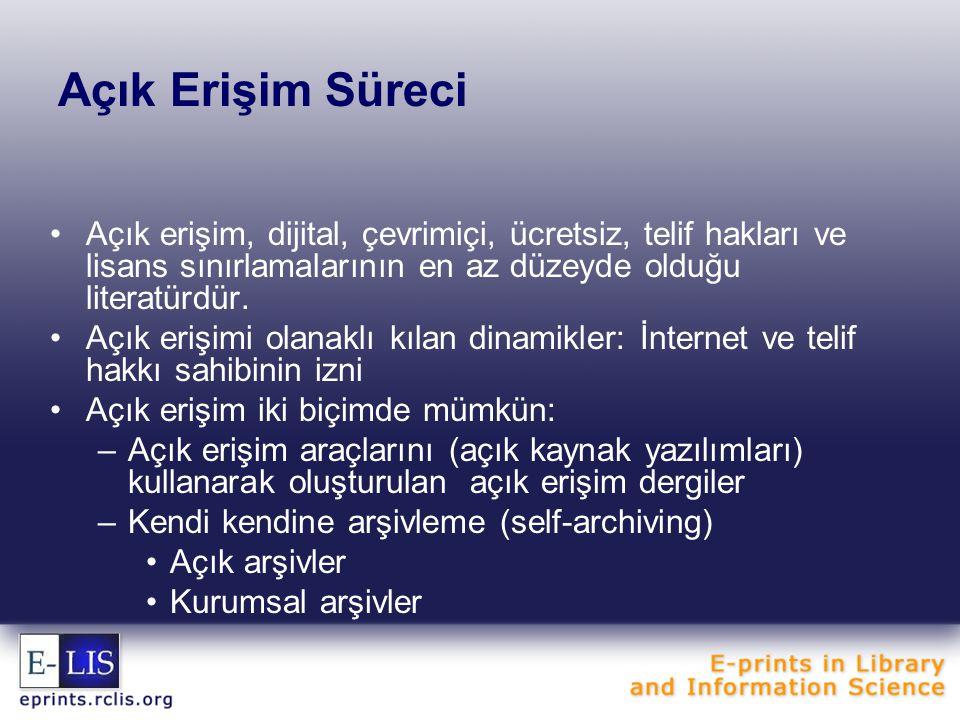 Açık Erişim Süreci Açık erişim, dijital, çevrimiçi, ücretsiz, telif hakları ve lisans sınırlamalarının en az düzeyde olduğu literatürdür. Açık erişimi