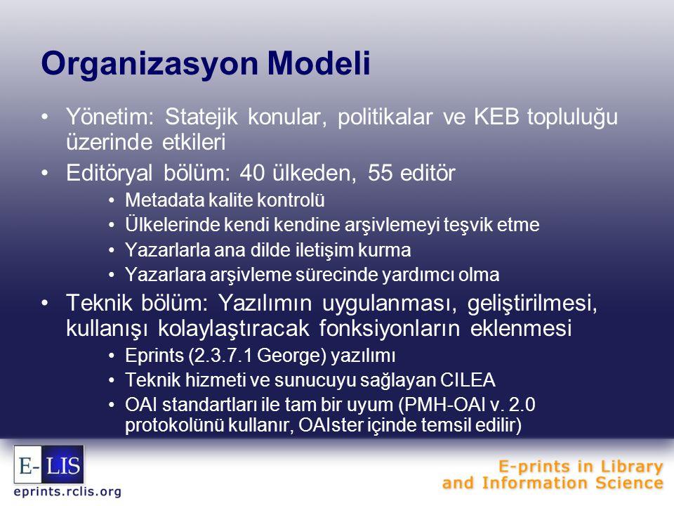 Organizasyon Modeli Yönetim: Statejik konular, politikalar ve KEB topluluğu üzerinde etkileri Editöryal bölüm: 40 ülkeden, 55 editör Metadata kalite kontrolü Ülkelerinde kendi kendine arşivlemeyi teşvik etme Yazarlarla ana dilde iletişim kurma Yazarlara arşivleme sürecinde yardımcı olma Teknik bölüm: Yazılımın uygulanması, geliştirilmesi, kullanışı kolaylaştıracak fonksiyonların eklenmesi Eprints (2.3.7.1 George) yazılımı Teknik hizmeti ve sunucuyu sağlayan CILEA OAI standartları ile tam bir uyum (PMH-OAI v.