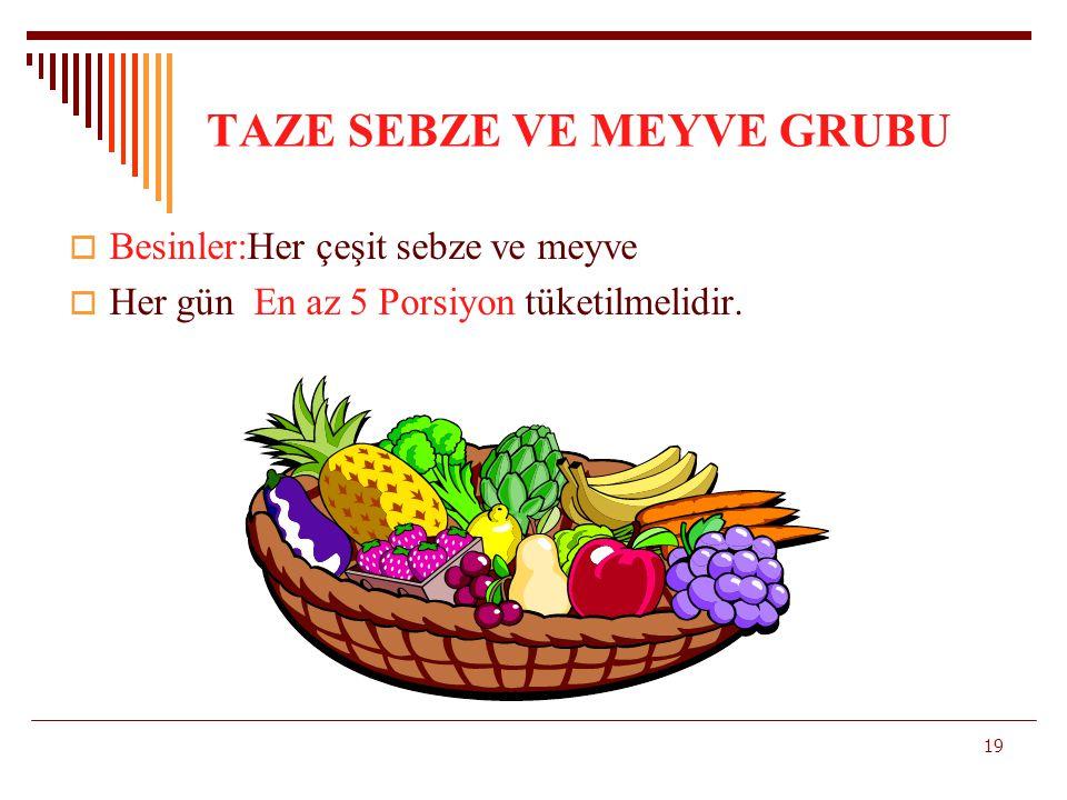 TAZE SEBZE VE MEYVE GRUBU  Besinler:Her çeşit sebze ve meyve  Her gün En az 5 Porsiyon tüketilmelidir. 19
