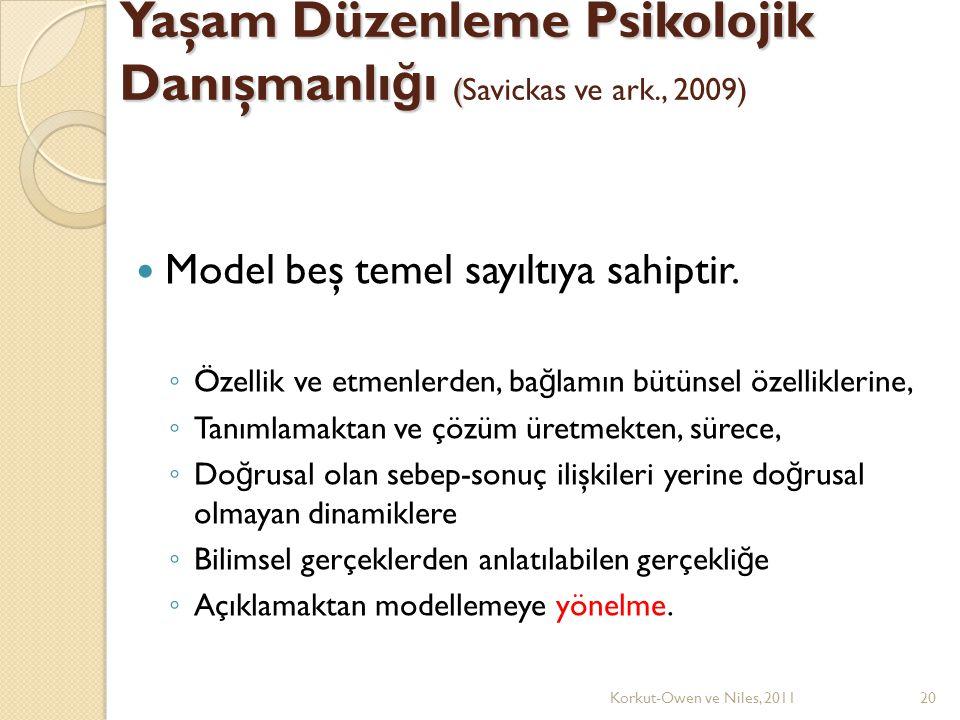 Yaşam Düzenleme Psikolojik Danışmanlı ğ ı ( Yaşam Düzenleme Psikolojik Danışmanlı ğ ı (Savickas ve ark., 2009) Model beş temel sayıltıya sahiptir.