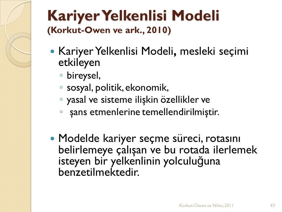 Kariyer Yelkenlisi Modeli Kariyer Yelkenlisi Modeli (Korkut-Owen ve ark., 2010) Kariyer Yelkenlisi Modeli, mesleki seçimi etkileyen ◦ bireysel, ◦ sosyal, politik, ekonomik, ◦ yasal ve sisteme ilişkin özellikler ve ◦ şans etmenlerine temellendirilmiştir.