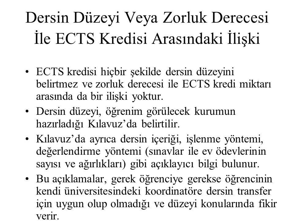 Dersin Düzeyi Veya Zorluk Derecesi İle ECTS Kredisi Arasındaki İlişki ECTS kredisi hiçbir şekilde dersin düzeyini belirtmez ve zorluk derecesi ile ECT