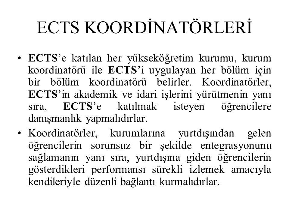 ECTS KOORDİNATÖRLERİ ECTS'e katılan her yükseköğretim kurumu, kurum koordinatörü ile ECTS'i uygulayan her bölüm için bir bölüm koordinatörü belirler.