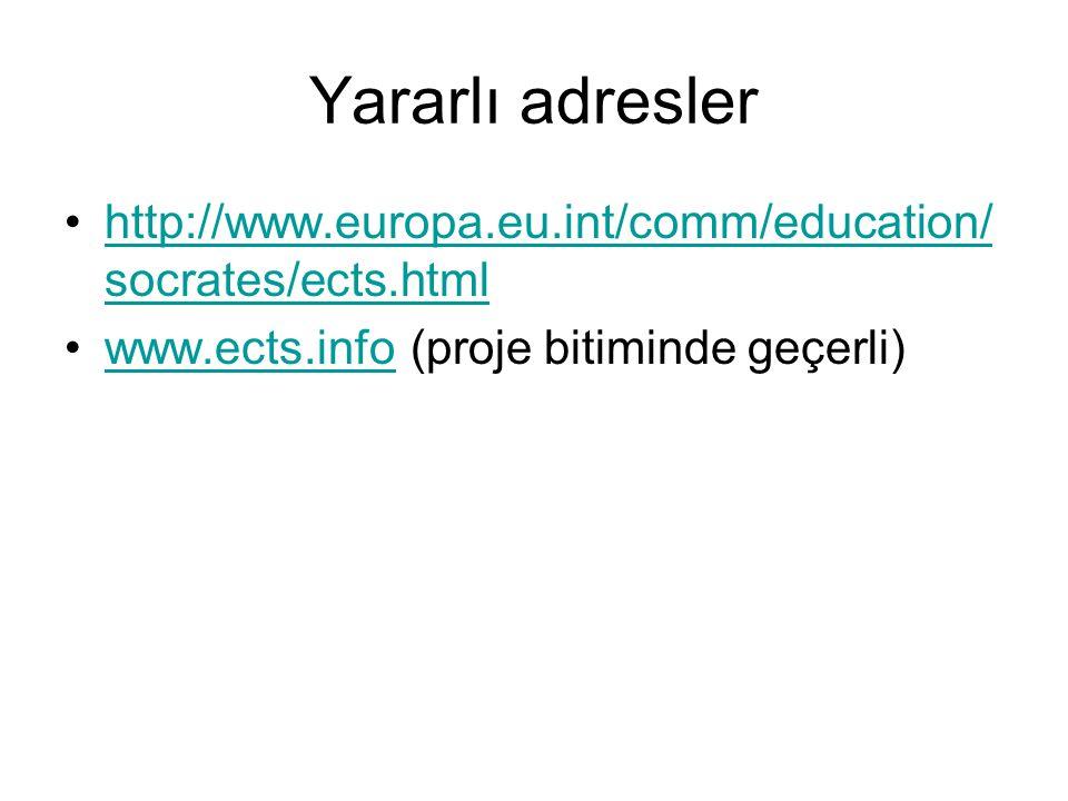 Yararlı adresler http://www.europa.eu.int/comm/education/ socrates/ects.htmlhttp://www.europa.eu.int/comm/education/ socrates/ects.html www.ects.info