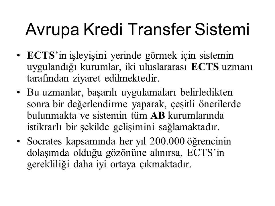 ECTS'in işleyişini yerinde görmek için sistemin uygulandığı kurumlar, iki uluslararası ECTS uzmanı tarafından ziyaret edilmektedir. Bu uzmanlar, başar