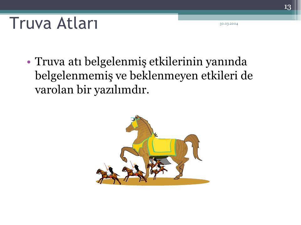 30.03.2004 13 Truva Atları Truva atı belgelenmiş etkilerinin yanında belgelenmemiş ve beklenmeyen etkileri de varolan bir yazılımdır.