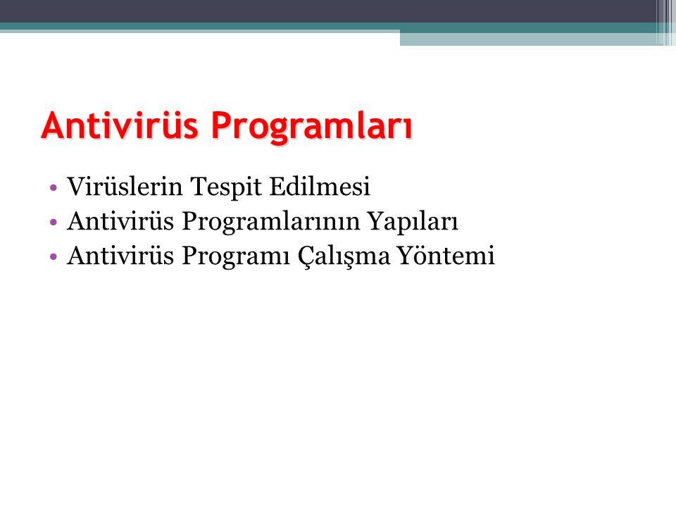 Antivirüs Programları Virüslerin Tespit Edilmesi Antivirüs Programlarının Yapıları Antivirüs Programı Çalışma Yöntemi