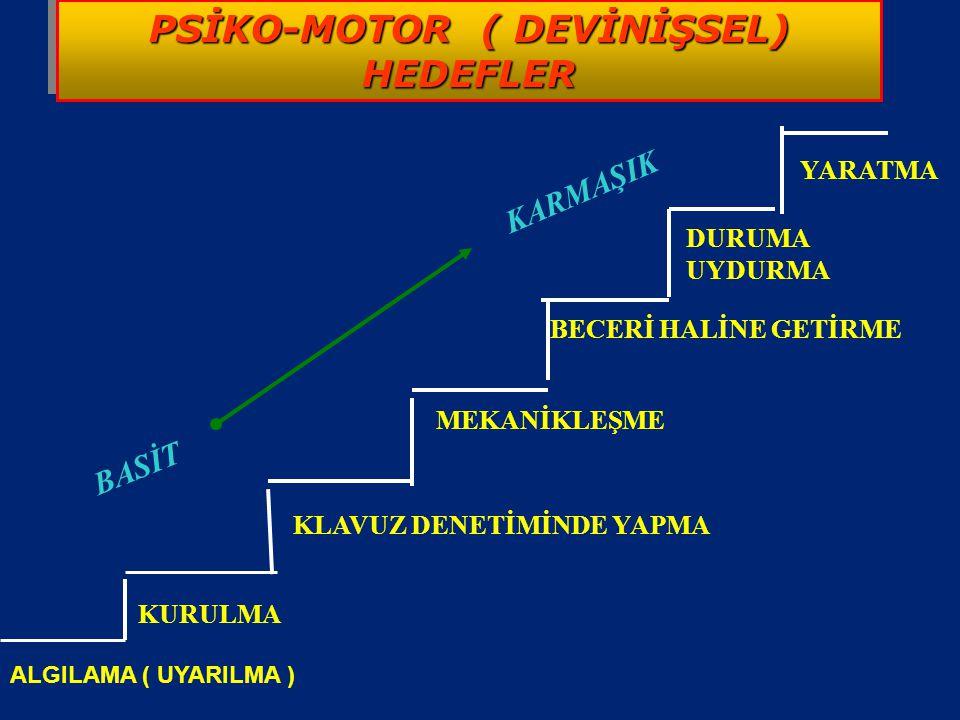 PSİKO-MOTOR ( DEVİNİŞSEL) HEDEFLER PSİKO-MOTOR ( DEVİNİŞSEL) HEDEFLER Psiko-motor davranışlar ; Zihin kas koordinasyonunu gerektiren öğrenilmiş davran