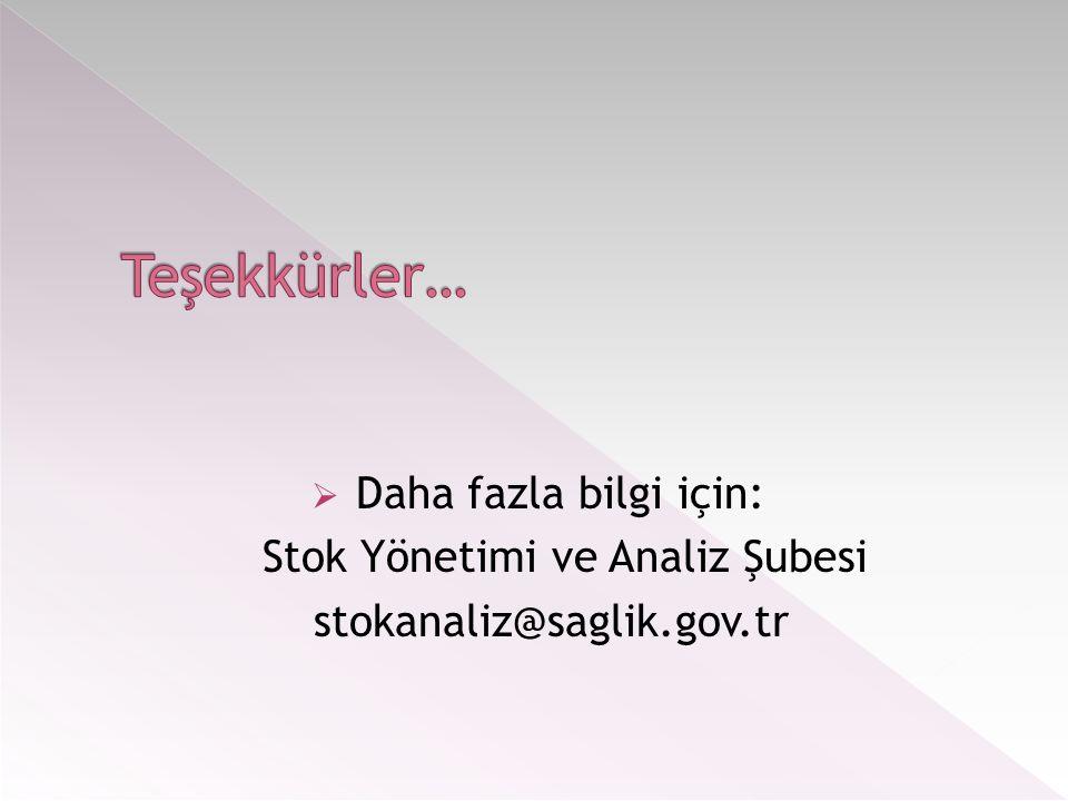  Daha fazla bilgi için: Stok Yönetimi ve Analiz Şubesi stokanaliz@saglik.gov.tr