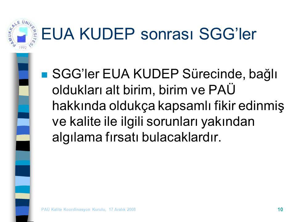PAÜ Kalite Koordinasyon Kurulu, 17 Aralık 2008 10 EUA KUDEP sonrası SGG'ler n SGG'ler EUA KUDEP Sürecinde, bağlı oldukları alt birim, birim ve PAÜ hakkında oldukça kapsamlı fikir edinmiş ve kalite ile ilgili sorunları yakından algılama fırsatı bulacaklardır.