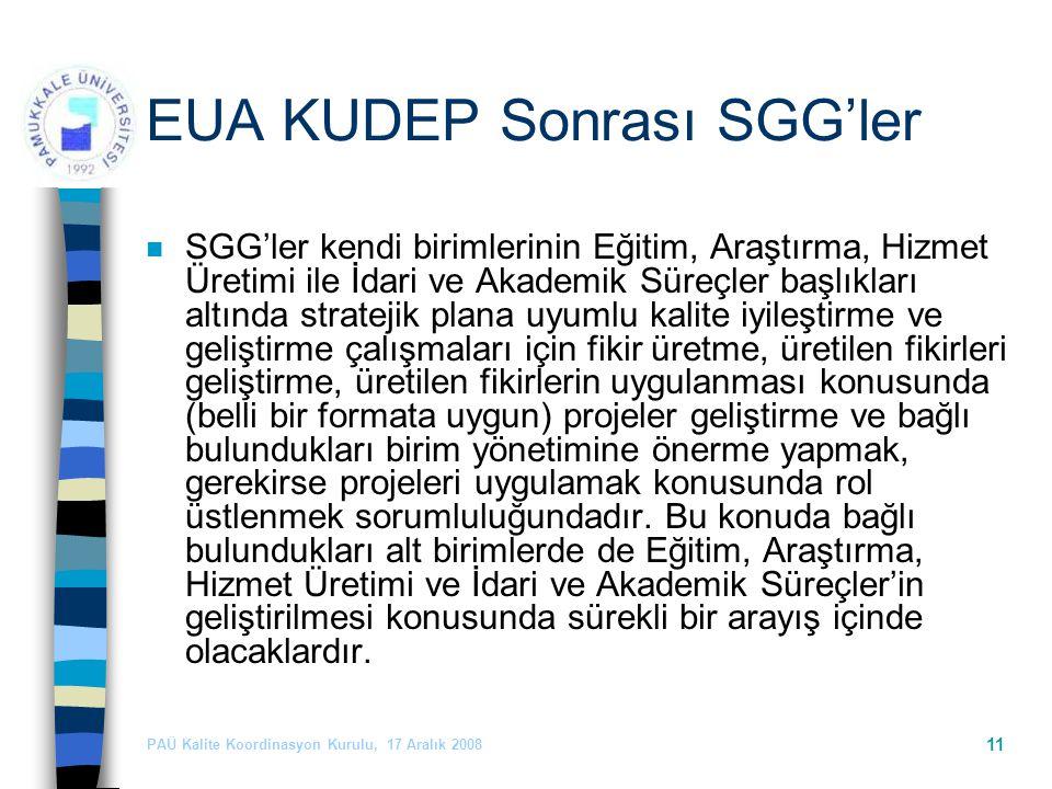 PAÜ Kalite Koordinasyon Kurulu, 17 Aralık 2008 11 EUA KUDEP Sonrası SGG'ler n SGG'ler kendi birimlerinin Eğitim, Araştırma, Hizmet Üretimi ile İdari ve Akademik Süreçler başlıkları altında stratejik plana uyumlu kalite iyileştirme ve geliştirme çalışmaları için fikir üretme, üretilen fikirleri geliştirme, üretilen fikirlerin uygulanması konusunda (belli bir formata uygun) projeler geliştirme ve bağlı bulundukları birim yönetimine önerme yapmak, gerekirse projeleri uygulamak konusunda rol üstlenmek sorumluluğundadır.