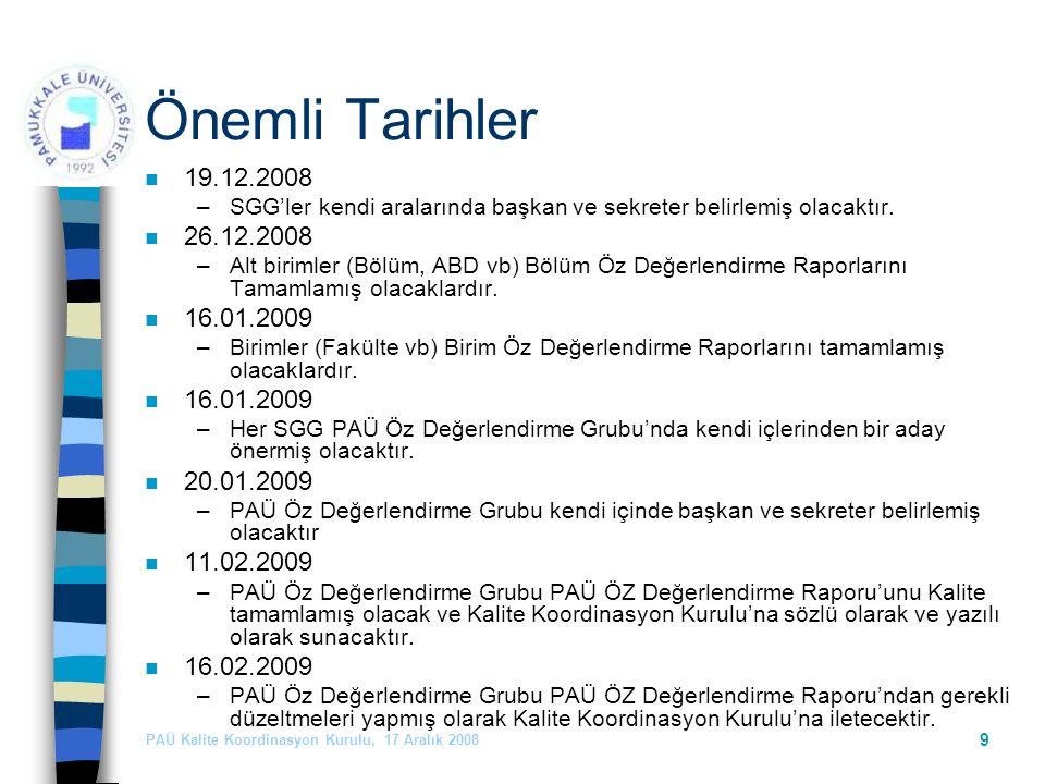 PAÜ Kalite Koordinasyon Kurulu, 17 Aralık 2008 9 Önemli Tarihler n 19.12.2008 –SGG'ler kendi aralarında başkan ve sekreter belirlemiş olacaktır.