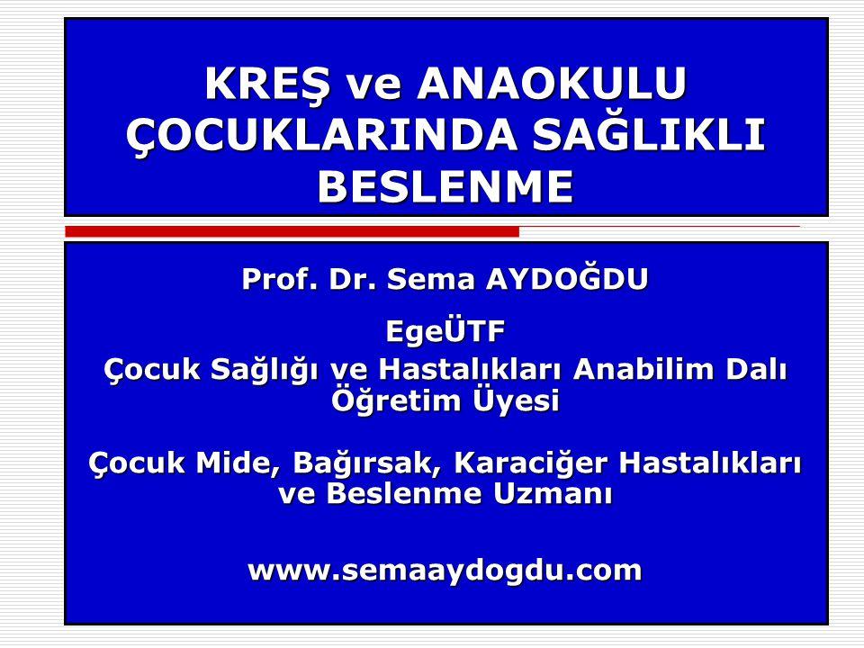 KREŞ ve ANAOKULU ÇOCUKLARINDA SAĞLIKLI BESLENME Prof.