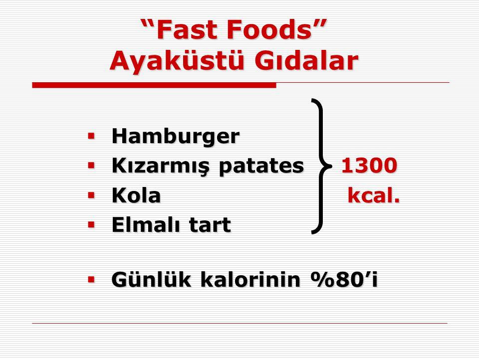 """""""Fast Foods"""" Ayaküstü Gıdalar  Hamburger  Kızarmış patates 1300  Kola kcal.  Elmalı tart  Günlük kalorinin %80'i"""