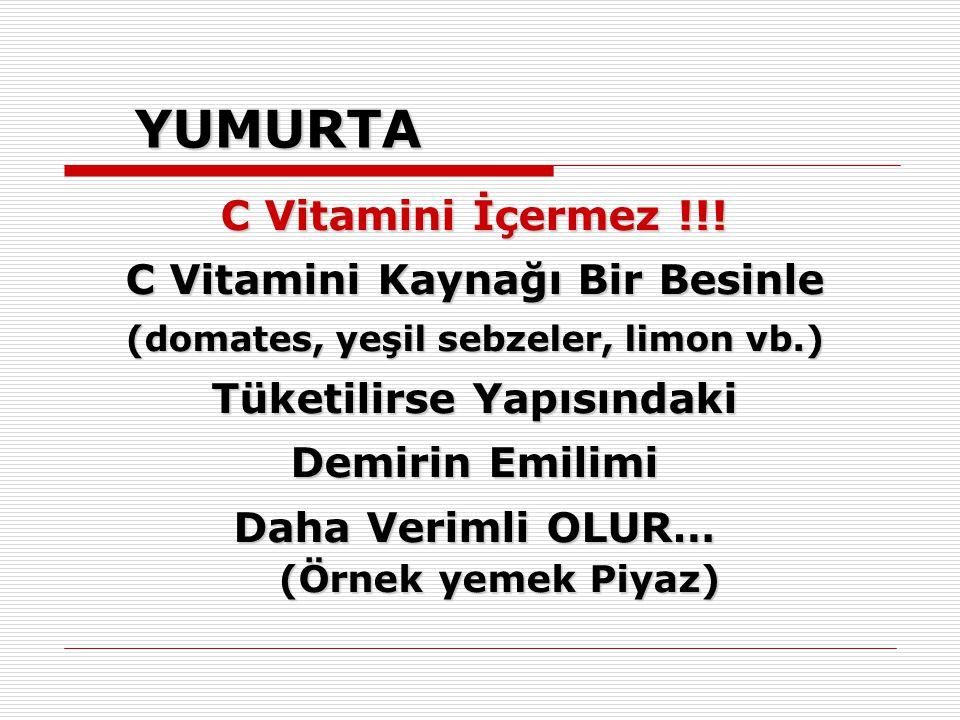 YUMURTA C Vitamini İçermez !!! C Vitamini Kaynağı Bir Besinle (domates, yeşil sebzeler, limon vb.) Tüketilirse Yapısındaki Demirin Emilimi Daha Veriml
