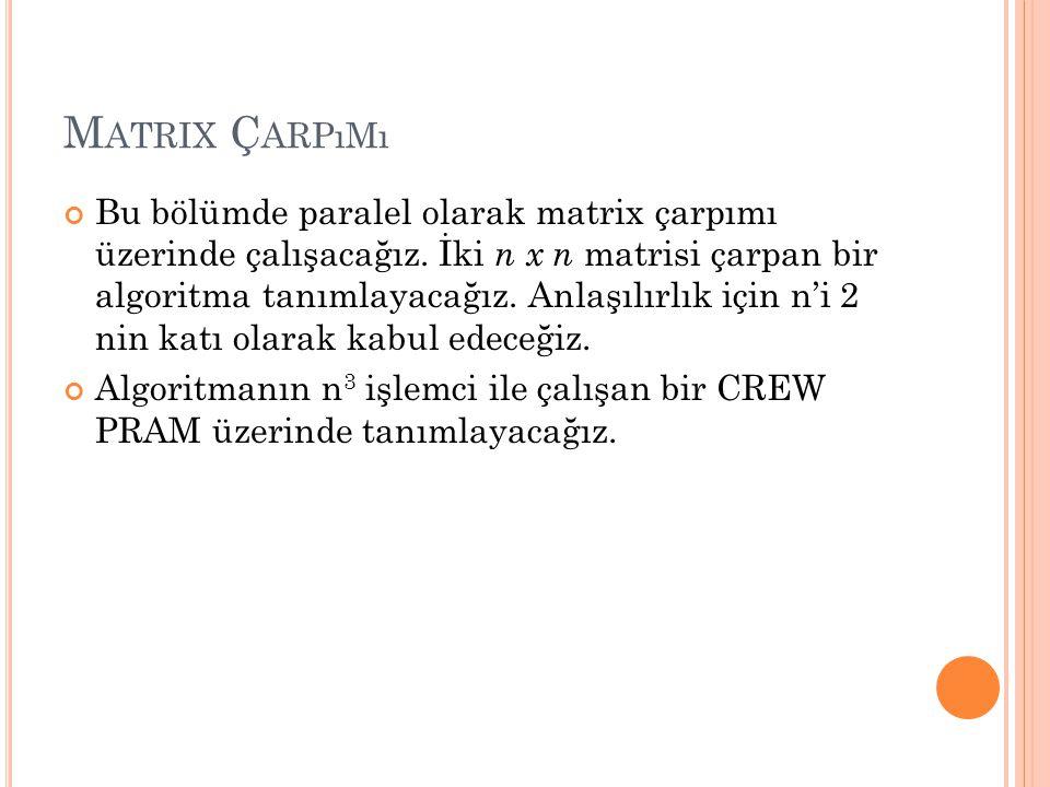 M ATRIX Ç ARPıMı Bu bölümde paralel olarak matrix çarpımı üzerinde çalışacağız.