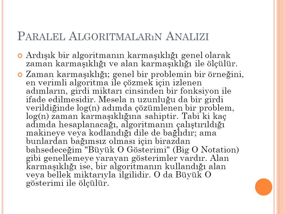 P ARALEL A LGORITMALARıN A NALIZI Ardışık bir algoritmanın karmaşıklığı genel olarak zaman karmaşıklığı ve alan karmaşıklığı ile ölçülür.