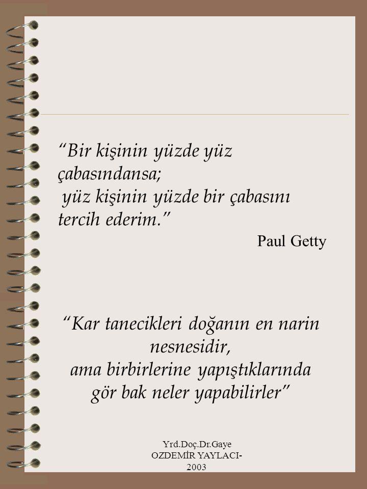 """Yrd.Doç.Dr.Gaye OZDEMİR YAYLACI- 2003 """"Bir kişinin yüzde yüz çabasındansa; yüz kişinin yüzde bir çabasını tercih ederim."""" Paul Getty """"Kar tanecikleri"""