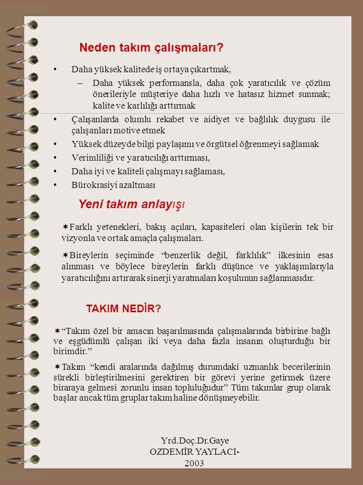 Yrd.Doç.Dr.Gaye OZDEMİR YAYLACI- 2003 Neden takım çalışmaları? Daha yüksek kalitede iş ortaya çıkartmak, –Daha yüksek performansla, daha çok yaratıcıl