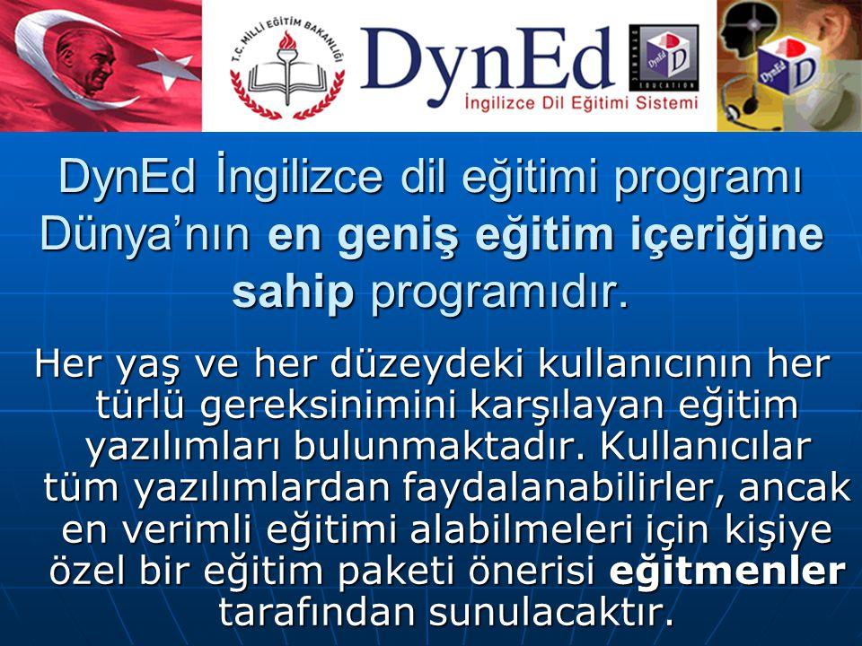 DynEd İngilizce dil eğitimi programı Dünya'nın en geniş eğitim içeriğine sahip programıdır. Her yaş ve her düzeydeki kullanıcının her türlü gereksinim