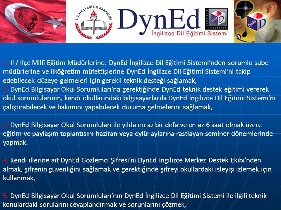 1. İ l / i lçe Millî Eğitim Müdürlerine, DynEd İngilizce Dil Eğitimi Sistemi'nden sorumlu şube müdürlerine ve ilköğretim müfettişlerine DynEd İngilizc