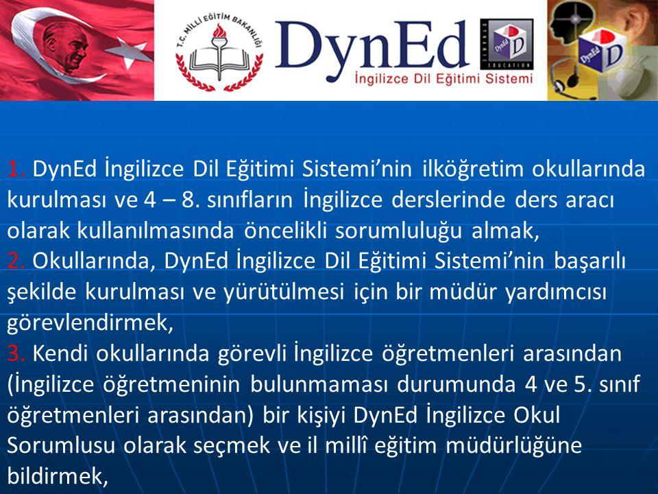 1. DynEd İngilizce Dil Eğitimi Sistemi'nin ilköğretim okullarında kurulması ve 4 – 8. sınıfların İngilizce derslerinde ders aracı olarak kullanılmasın