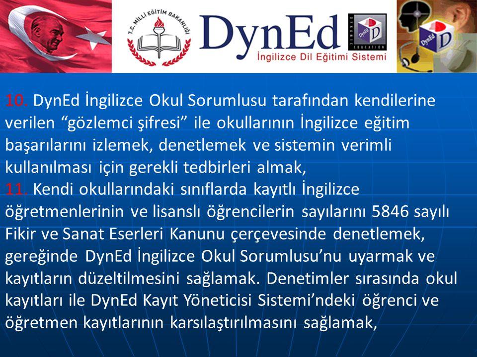 """10. DynEd İngilizce Okul Sorumlusu tarafından kendilerine verilen """"gözlemci şifresi"""" ile okullarının İngilizce eğitim başarılarını izlemek, denetlemek"""