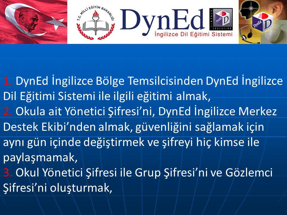 1. DynEd İngilizce Bölge Temsilcisinden DynEd İngilizce Dil Eğitimi Sistemi ile ilgili eğitimi almak, 2. Okula ait Yönetici Şifresi'ni, DynEd İngilizc