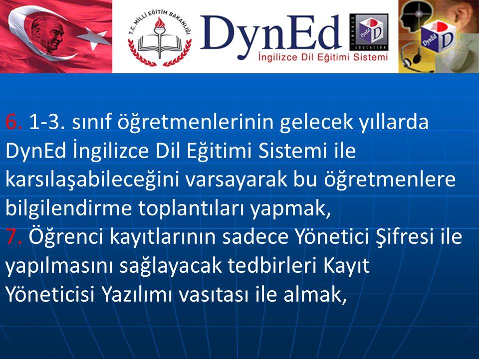 6. 1-3. sınıf öğretmenlerinin gelecek yıllarda DynEd İngilizce Dil Eğitimi Sistemi ile karsılaşabileceğini varsayarak bu öğretmenlere bilgilendirme to