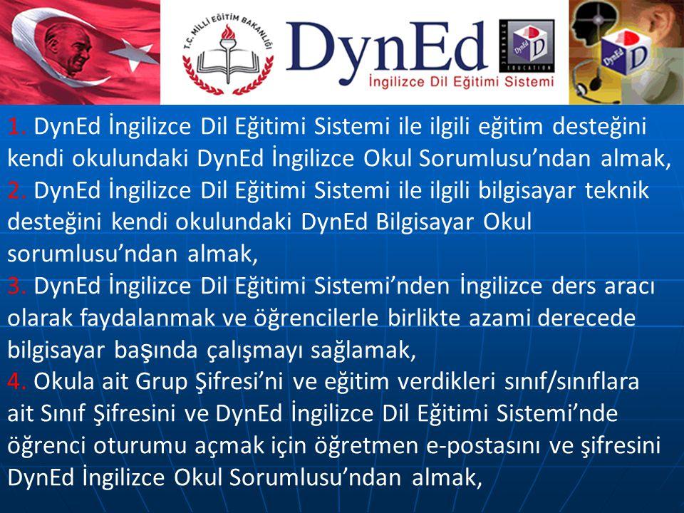 1. DynEd İngilizce Dil Eğitimi Sistemi ile ilgili eğitim desteğini kendi okulundaki DynEd İngilizce Okul Sorumlusu'ndan almak, 2. DynEd İngilizce Dil