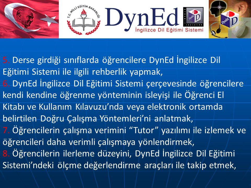 5. Derse girdiği sınıflarda öğrencilere DynEd İngilizce Dil Eğitimi Sistemi ile ilgili rehberlik yapmak, 6. DynEd İngilizce Dil Eğitimi Sistemi çerçev