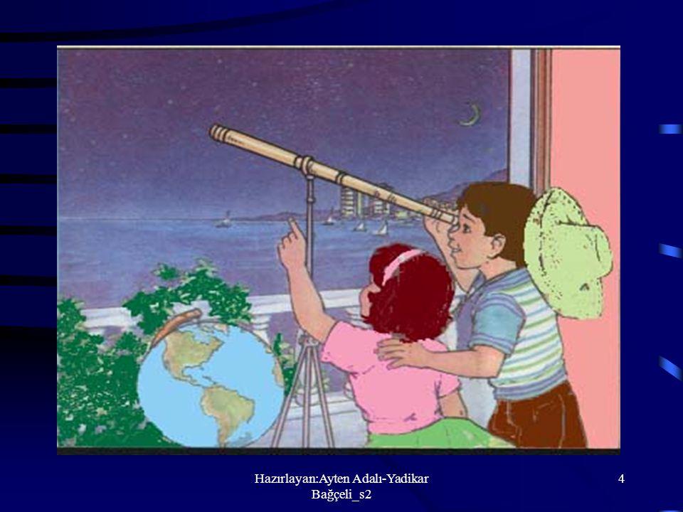 Hazırlayan:Ayten Adalı-Yadikar Bağçeli_s2 3 Dünya ve Uzay 1.Gökyüzünde gördüklerimiz 2.Gök cisimleri a.Güneş b.Ay c.Dünya