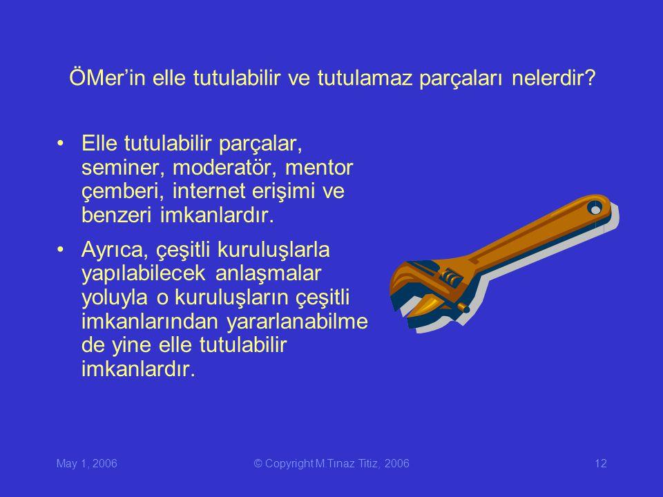 May 1, 2006© Copyright M.Tınaz Titiz, 200612 ÖMer'in elle tutulabilir ve tutulamaz parçaları nelerdir.