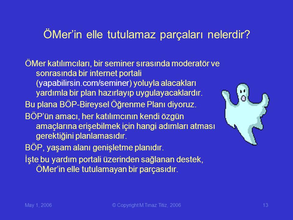 May 1, 2006© Copyright M.Tınaz Titiz, 200613 ÖMer'in elle tutulamaz parçaları nelerdir.