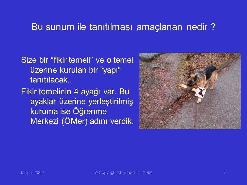 May 1, 2006© Copyright M.Tınaz Titiz, 20062 Bu sunum ile tanıtılması amaçlanan nedir .