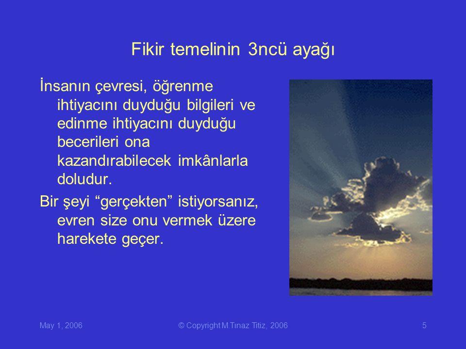 May 1, 2006© Copyright M.Tınaz Titiz, 20065 Fikir temelinin 3ncü ayağı İnsanın çevresi, öğrenme ihtiyacını duyduğu bilgileri ve edinme ihtiyacını duyduğu becerileri ona kazandırabilecek imkânlarla doludur.