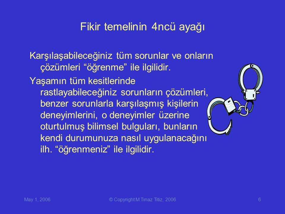 May 1, 2006© Copyright M.Tınaz Titiz, 20066 Fikir temelinin 4ncü ayağı Karşılaşabileceğiniz tüm sorunlar ve onların çözümleri öğrenme ile ilgilidir.