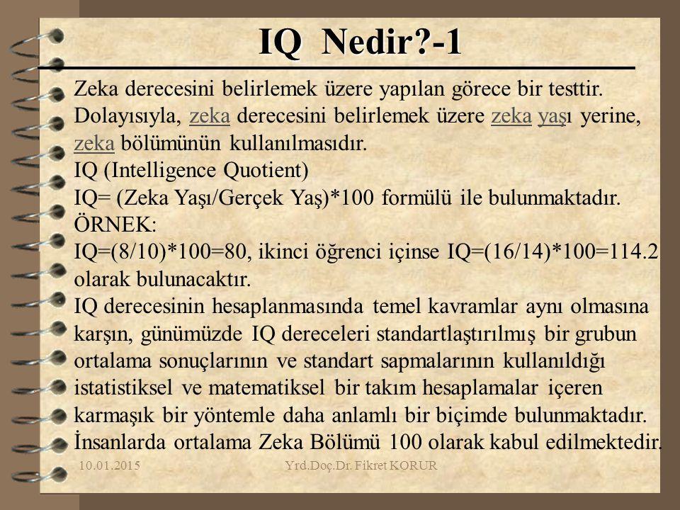 10.01.2015Yrd.Doç.Dr. Fikret KORUR IQ Nedir?-1 Zeka derecesini belirlemek üzere yapılan görece bir testtir. Dolayısıyla, zeka derecesini belirlemek üz