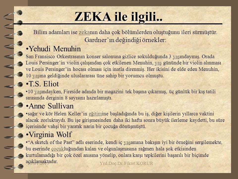 10.01.2015Yrd.Doç.Dr. Fikret KORUR ZEKA ile ilgili.. Bilim adamları ise zekanın daha çok bölümlerden oluştuğunu ileri sürmüştür.zeka Gardner'ın değind