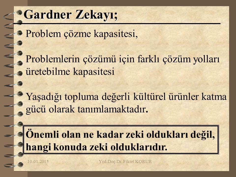 10.01.2015Yrd.Doç.Dr. Fikret KORUR Gardner Zekayı; Problem çözme kapasitesi, Problemlerin çözümü için farklı çözüm yolları üretebilme kapasitesi Yaşad