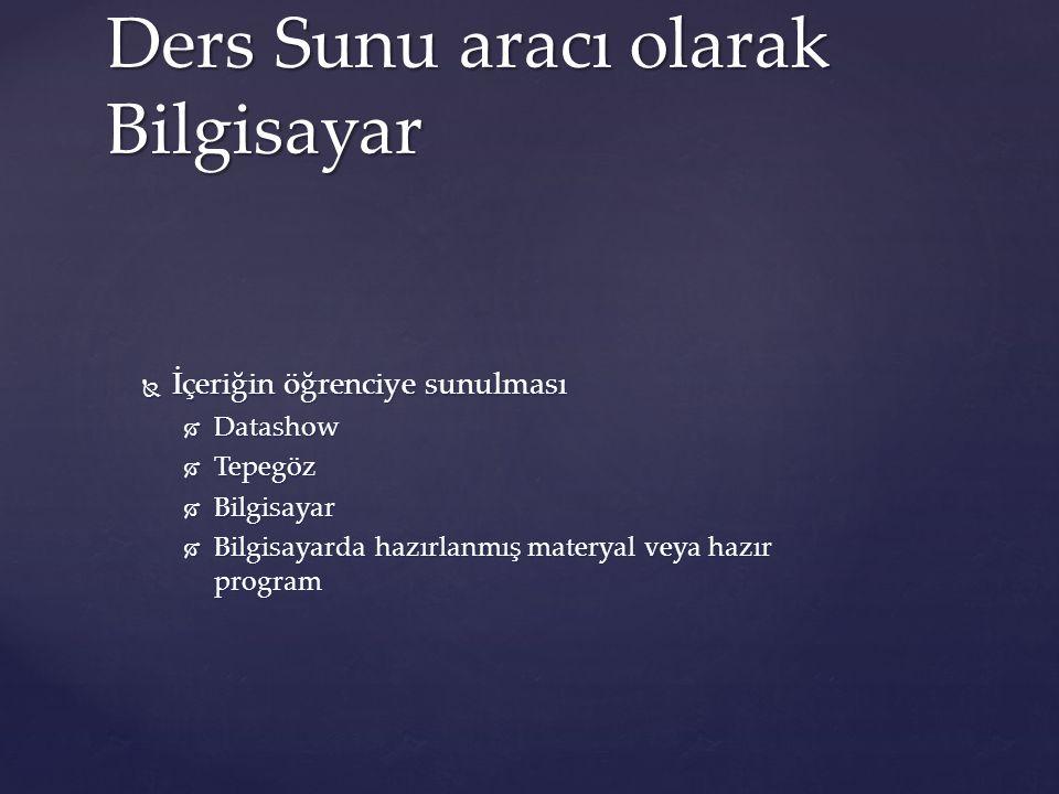 Ders Sunu aracı olarak Bilgisayar  İçeriğin öğrenciye sunulması  Datashow  Tepegöz  Bilgisayar  Bilgisayarda hazırlanmış materyal veya hazır prog