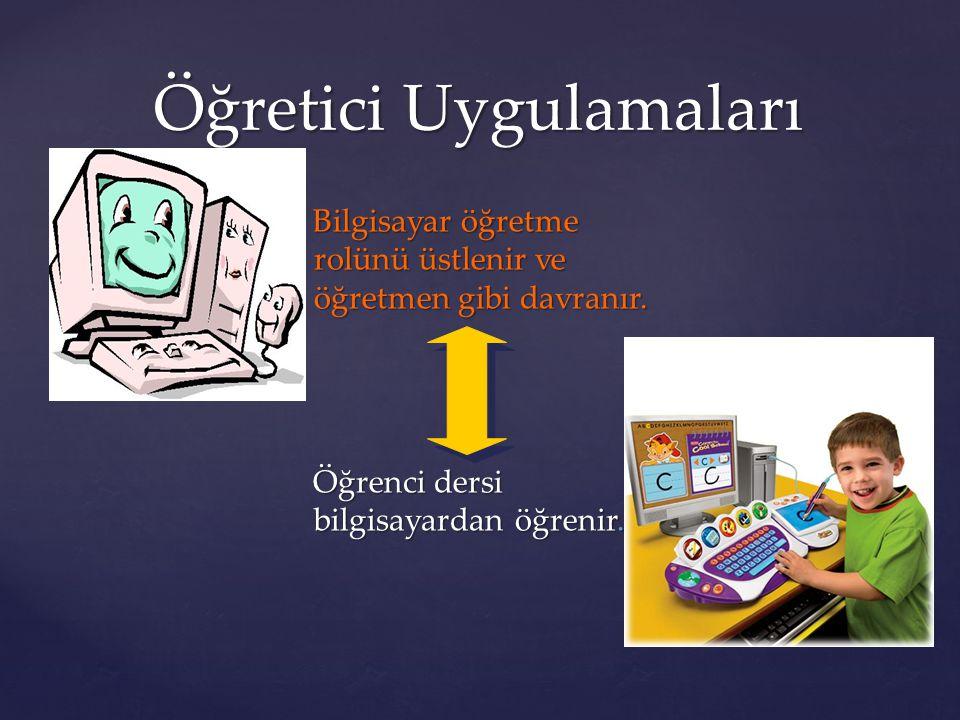 Bilgisayar öğretme rolünü üstlenir ve öğretmen gibi davranır. Öğrenci dersi bilgisayardan öğrenir. Öğretici Uygulamaları